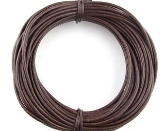 Brown Dark Round Leather Cord 3mm 3 meters (3.28 yards)