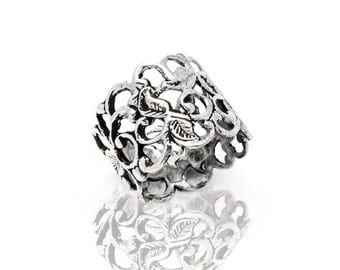 Wide band silver lace ring - Anniversary gift idea