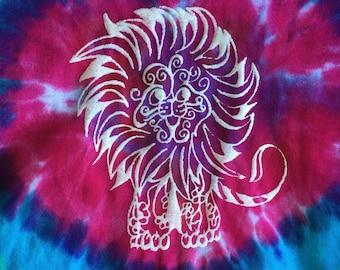 Lion tie dyed print T-shirt