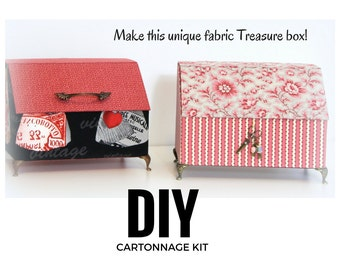 Fabric covered box DIY kit, cartonnage box kit, fabric box kit, treasure box  kit only (DIY kit 146)