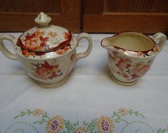 Vintage Hand Painted Japan Sugar Bowl And Creamer Orange/Rust Floral