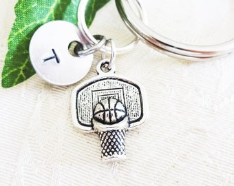 BASKETBALL KEYCHAIN with initial charm - see all photos to order - one flat rate shipping in my shop :)