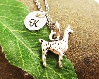 LLAMA ALPACA NECKLACE in silver tone - personalized with initial charm - choice of chains