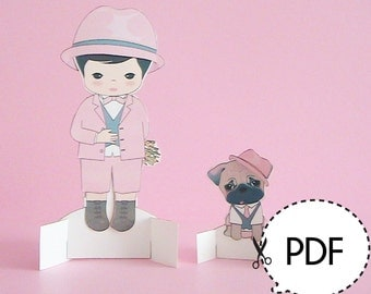 Will and Dunkin Paper Doll Seasonal Outfits ONLY-Printable PDF Download