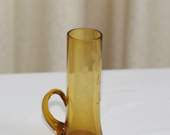 Vintage Amber blown Glass Etched Shot Glass