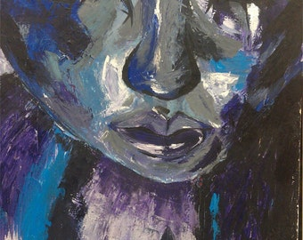 Blue expression painting portrait wall art stretched canvas beautiful strokes origional