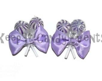 Purple Lollipop  Hair Clips x 2, Flower Girl Accessory, Candy Hair Clip, Wedding, Bridesmaid Accessory, Sweet Sixteen, Purple, Lollipop