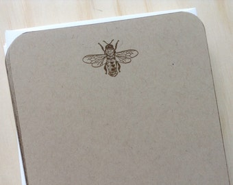 vintage inspired flat note cards and envelopes, stationery set, bee, set of 10.
