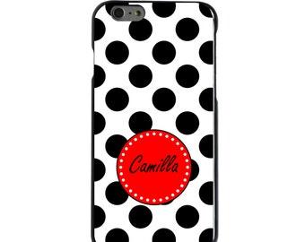 Hard Snap-On Case for Apple 5 5S SE 6 6S 7 Plus - CUSTOM Monogram - Any Colors - Black White Red Polka Dots