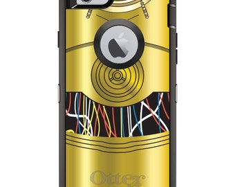 Custom OtterBox Defender Case for Apple iPhone 6 6S 7 8 PLUS X 10 - Personalized Monogram - C3PO-inspired gold with wires