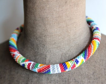 Beaded Geometric Necklace, Chunky Rope Necklace, Colorful Geometric Necklace,  Bead Crochet Necklace, Colorful Patchwork - MADE TO ORDER