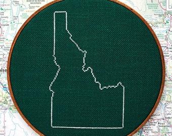State of Idaho map, CROSS STITCH PATTERN