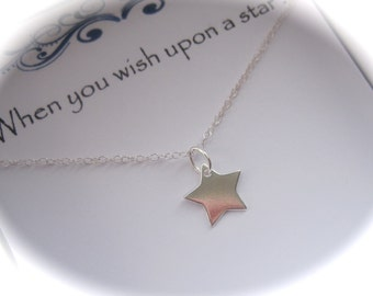 Sterling Silver Christening Wishing Star Necklace