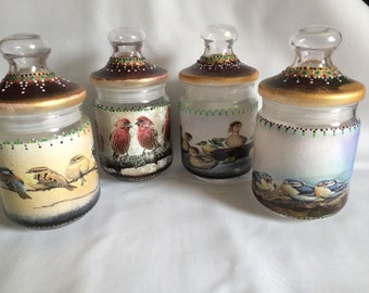 Hand Decorated Set Of 4 Round Glass Jars With Lid Storage/ Kitchen