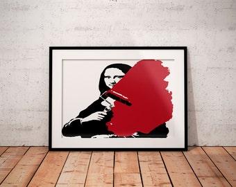 Banksy Mona Lisa art print, Street Art, Graffti Art, Stencil Art, Banksy poster print