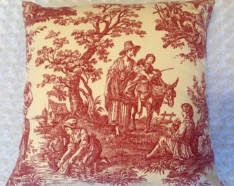 """French Country Life Toile Throw Pillow Cover Same Fabric Both Sides 20""""x 20"""""""