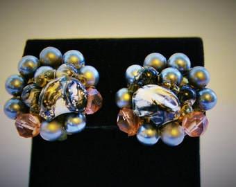 Vintage Retro Gray Bead Clip Earrings - High Texture
