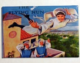 "The FLYING NUN Metal LUNCHBOX 2"" x 3"" Fridge Magnet Art Vintage Tv show"