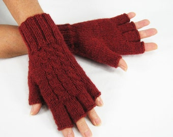 Women Merino, Long Half-Fingered, Fingerless Gloves,Burgundy Maroon Red, Cabled, Luxuriously Soft, Warm, Lightweight, READY TO SHIP