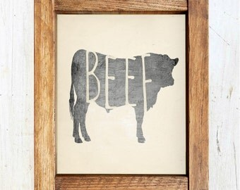 Beef Cow Silhouette Printable - INSTANT DOWNLOAD