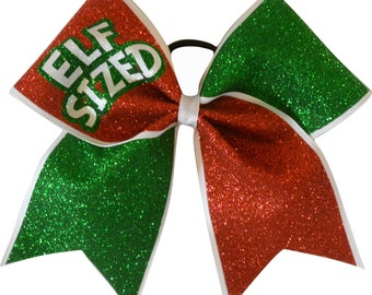 Elf Sized Christmas Red and Green Glitter Cheer Bow
