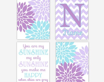 Baby Girl Nursery Wall Art Purple Teal You Are My Sunshine Personlize Art Girl Room Flower Burst Floral Baby Nursery Decor Art