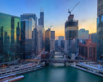River Skyline #1 - Chicago - Cityscape - Street Photography - HDR - Fine Art - Urban Art - Illinois - Prints