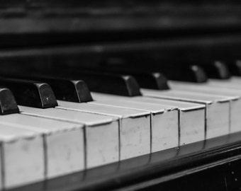 Piano Keys #7 - Black and White - B&W - Leonard Piano Company - Detroit - Antique - Nostalgic - Music - Fine Art - Jazz - Classical - Play