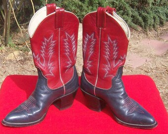 Vintage Larry Mahan Western cowboy rodeo leather red black and silver boots stitched