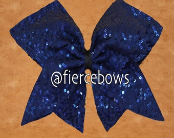 Dark Blue  Squiggle Sequin Cheer Bow