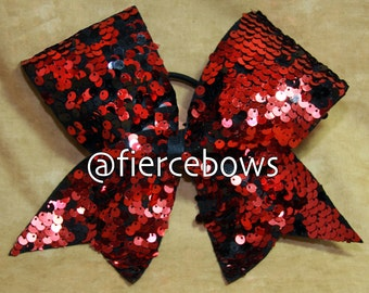 Red and Black Reversible Sequin Cheer Bow