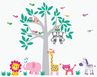 Jungle Fabric Decal Girls Jungle Decal REUSABLE and REMOVABLE Fabric Decal - C100A