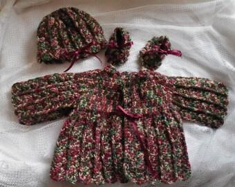 Crocheted baby girl's sweater cranberry baby sweater baby girl sweater crochet green baby sweater holiday baby newborn TillieLuvsTreasures