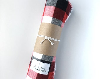 Black, White, and Red Buffalo Plaid Baby Swaddle blanket