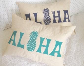ALOHA Pillow - pineapple aloha pillow, hawaiian pillow, beach house pillow