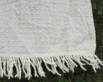 Vintage Light Yellow Dot Pattern Chenille Bedspread CUTTER with Fringe Dotted Swiss