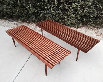Mid Century Wood Slat Bench Coffee Table Seating by Nasco Yugoslavia