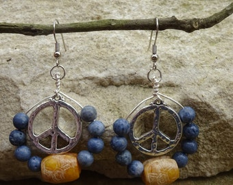 Peace Dangle Earrings - Peace Earrings - Boho Style - Boho Earrings  - Festival Earrings - Handmade Earrings - Handmade Peace Earrings -