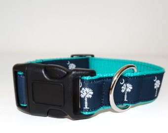 """Teal SC Palmetto Flag Collar- 1"""" Wide with Leash Option"""