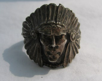 Large OLD Silver Long Faced Indian Chief Ring, Size 12