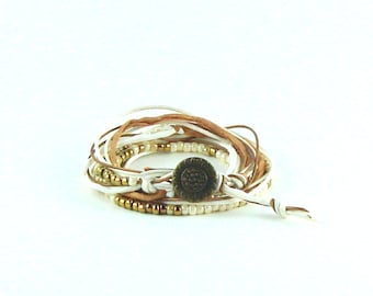Bracelet wrap beige and ivory, cords, button bronze Bohemian style