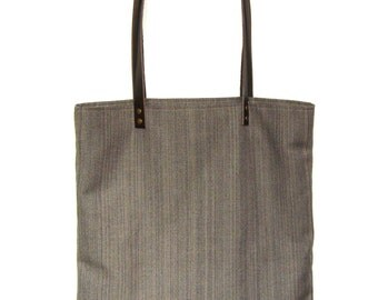 Tote bag or tote bag in taupe handles riveted leather brown color upholstery fabric