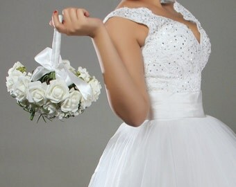 Beaded Lace Tulle Gown