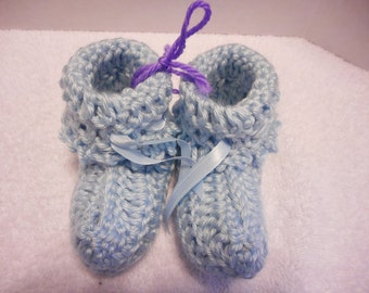 Soft Blue Baby Booties