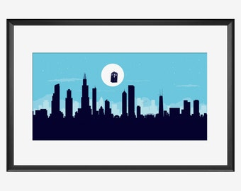 Chicago skyline, Chicago print, Chicago art, Chicago poster, Doctor Who inspired art, Doctor Who art, Doctor Who print, Doctor Who poster