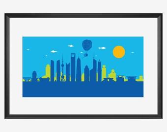 Shanghai Skyline print, Shanghai China, Shanghai art, Shanghai print, Shanghai poster, Up movie inspired, UP art, Up print, Up nursery, gift