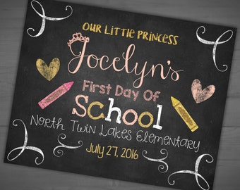 My Little Princess - First Day Of School - 1st Day Of Preschool - Back To School Chalkboard Sign -Welcome Back - Printable - 8x10 - 16x20