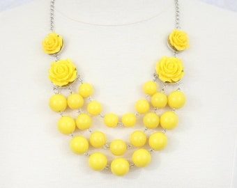 Multi Strand Rose Bubble Necklace Statement Necklace Bib Necklace Yellow