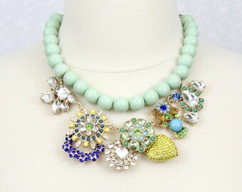 Mint Green Rhinestone Flower Statement Necklace Pastel Floral Bib Necklace Chunky Necklace