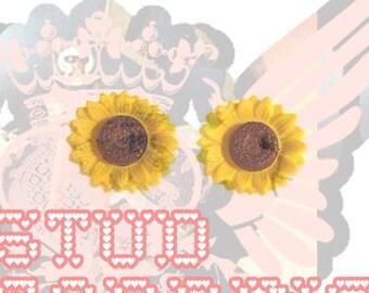 stud + earrings + sunflowers + yellow * shopcor